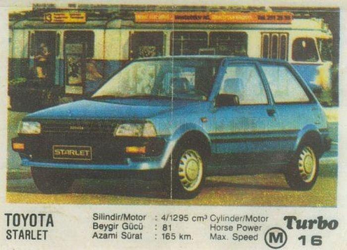 Toyota Starlet –  малолитражка с познавательной историей из фантика Turbo №16
