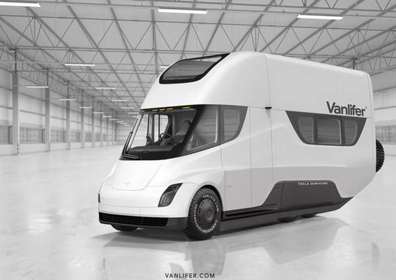 Электрогрузовик Tesla Semi превратили в стильный дом на колесах