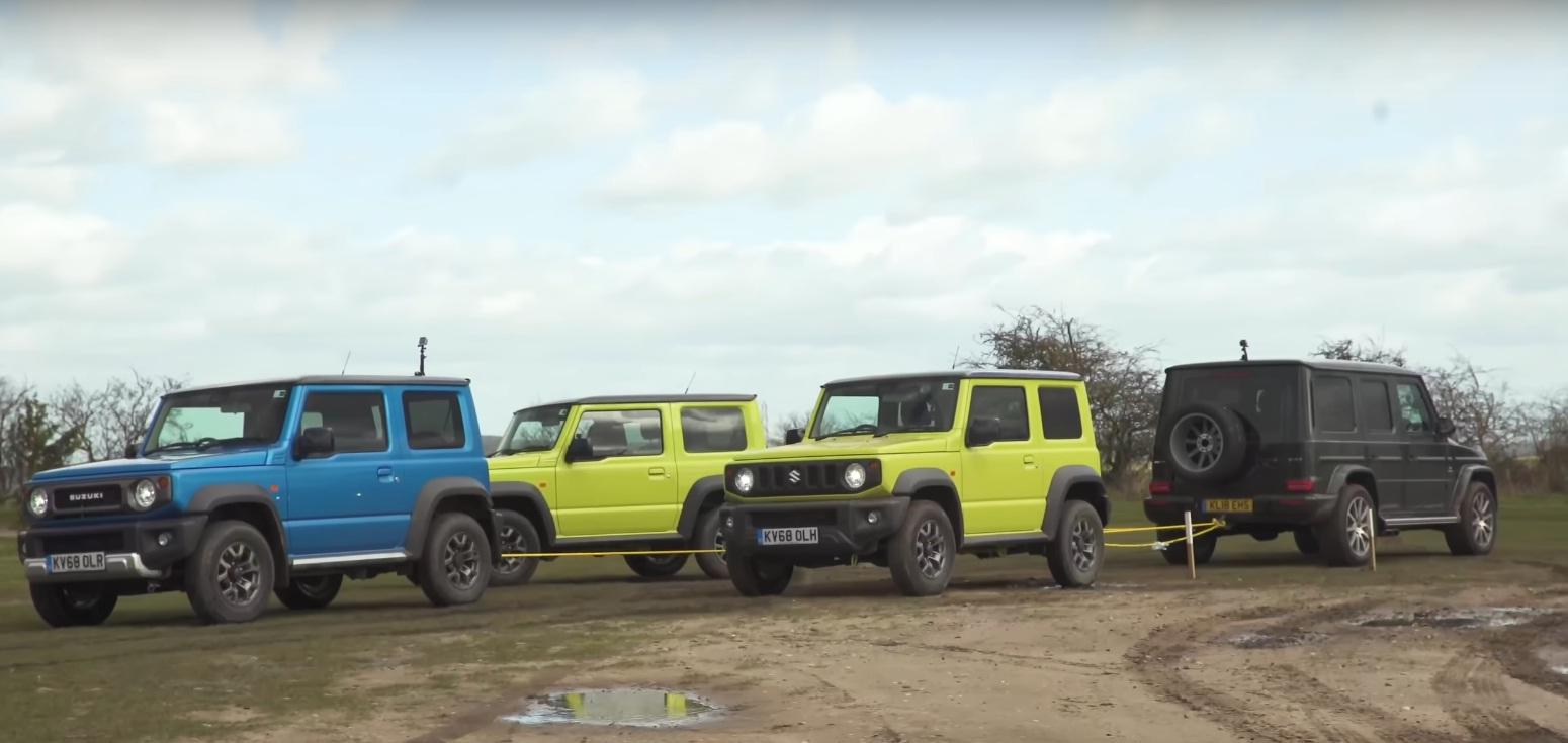 Новый Suzuki Jimny победил Гелендваген в перетягивании каната (видео)
