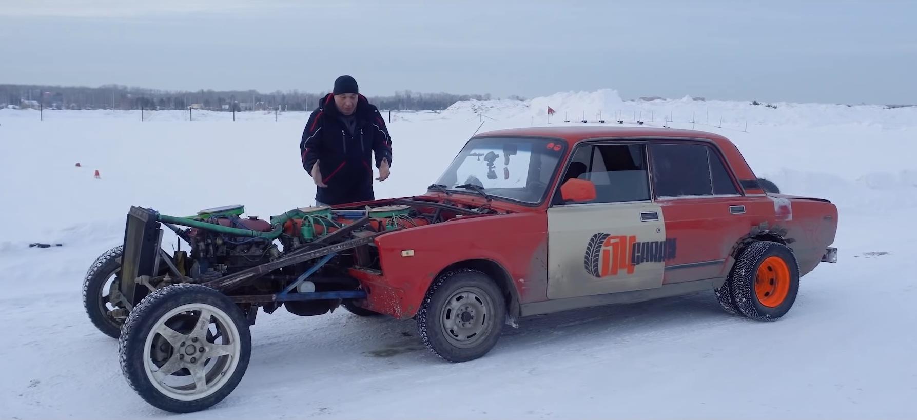 Уникальную шестиколесную Ладу с тремя двигателями показали на видео