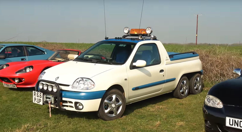 Уникальный шестиколесный Renault Clio засветился на фото и видео