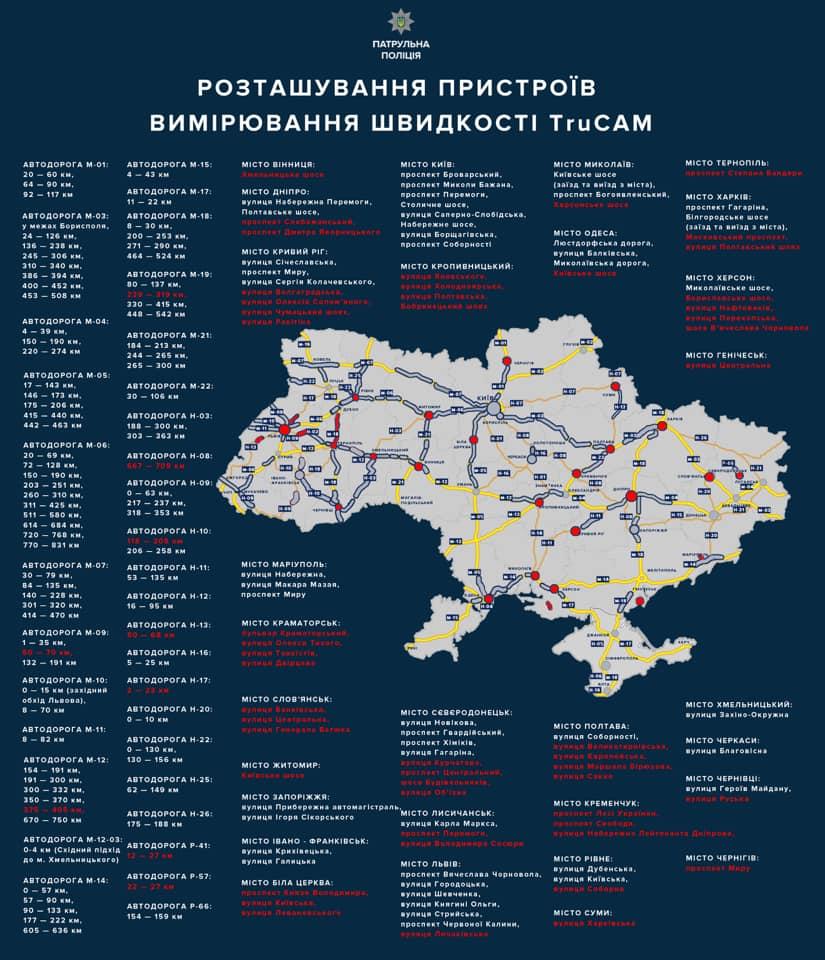 В украинских городах появятся новые радары фиксации скорости (карта)