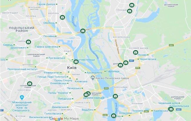 Где в Киеве установлены камеры фотофиксации нарушений ПДД (карта)