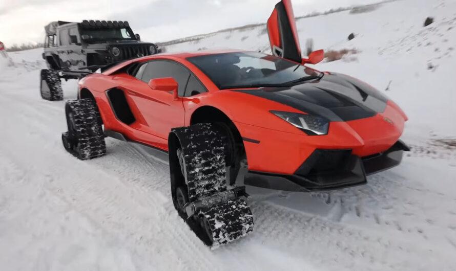 Суперкар Lamborghini оригинально подготовили к украинской зиме (видео)