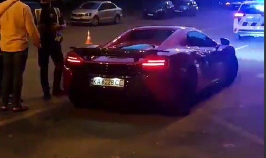 Момент аварии с суперкаром McLaren в Киеве (видео)